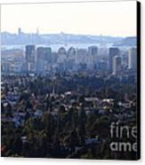 Hazy San Francisco Skyline Viewed Through The Oakland Skyline . 7d11341 Canvas Print