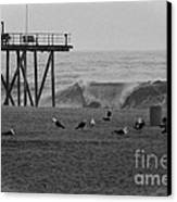 Hdr Black White Beach Beaches Ocean Sea Seaview Waves Pier Photos Pictures Photographs Photo Picture Canvas Print by Pictures HDR
