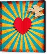 Heart And Cupid On Paper Texture Canvas Print by Setsiri Silapasuwanchai