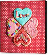 Heart Shaped Love Cookies Canvas Print by Kelly Sillaste
