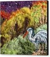 Heron At Night Canvas Print by Nicole Besack