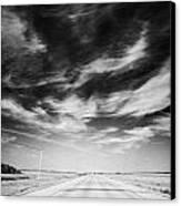 Highway Through Land Of The Living Skies Saskatchewan Canada Canvas Print