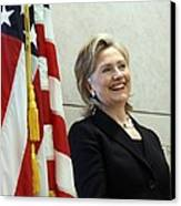 Hillary Clinton Speaks At The U.s Canvas Print by Everett