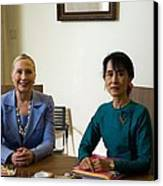 Hillary Clinton Visited Daw Aung San Canvas Print