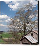 Hillside Weathered Barn Dramatic Spring Sky Canvas Print by John Stephens
