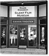 Historic Niles District In California Near Fremont . Niles Essanay Silent Film Museum . 7d10684 Bw Canvas Print
