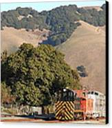 Historic Niles Trains In California . Old Southern Pacific Locomotive And Sante Fe Caboose . 7d10817 Canvas Print