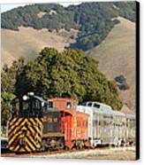 Historic Niles Trains In California . Old Southern Pacific Locomotive And Sante Fe Caboose . 7d10818 Canvas Print by Wingsdomain Art and Photography