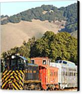 Historic Niles Trains In California . Old Southern Pacific Locomotive And Sante Fe Caboose . 7d10819 Canvas Print by Wingsdomain Art and Photography