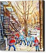 Hockey Game Near Winding Staircases Canvas Print