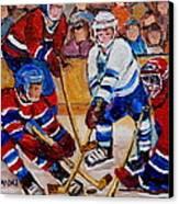 Hockey Game Scoring The Goal Canvas Print by Carole Spandau