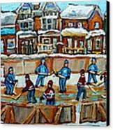 Hockey Rink Montreal Street Scene Canvas Print by Carole Spandau