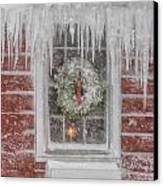 Holiday Wreath In Window With Icicles During Blizzard Of 2005 On Canvas Print by Matt Suess