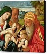 Holy Family With St. Simeon And John The Baptist Canvas Print by Francesco Rizzi da Santacroce