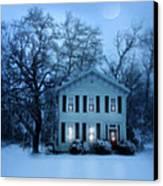 Home On A Wintery Evening Canvas Print by Jill Battaglia