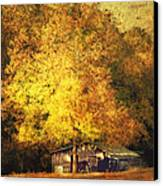 Horse Barn In The Shade Canvas Print by Kathy Jennings