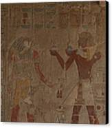 Horus Is Shown Receiving Gifts Canvas Print