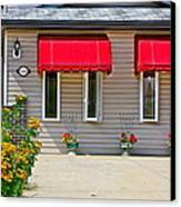 House With Red Shades. Canvas Print