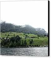 Houses On The Greenery Of The Slope Of A Mountain Next To Lake Lucerne Canvas Print by Ashish Agarwal