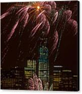 Hudson River Fireworks X Canvas Print by Clarence Holmes