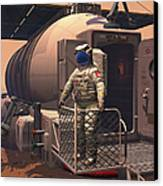 Illustration Of An Astronaut Leaving Canvas Print by Walter Myers