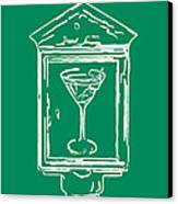 In Case Of Emergency - Drink Martini - Green Canvas Print by Wingsdomain Art and Photography