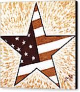 Independence Day Star Usa Flag Coffee Painting Canvas Print by Georgeta  Blanaru