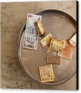 Indian Money In A Dish Canvas Print