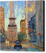 Indy Monument At Twilight Canvas Print by Donna Shortt