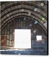 Interior Of Abandoned Farm Equipment Shed Canvas Print by Paul Edmondson