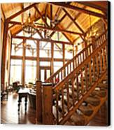 Interior Of Large Wooden Lodge Canvas Print