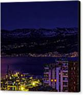 Istrian Riviera At Night Canvas Print by Jasna Buncic