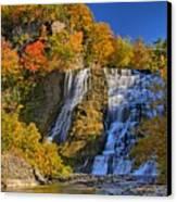 Ithaca Falls In Autumn Canvas Print by Matt Champlin