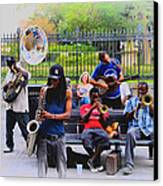 Jazz Band At Jackson Square Canvas Print by Bill Cannon
