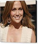 Jennifer Lopez At The Press Conference Canvas Print by Everett