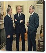 Jimmy Carter Gerald Ford And Richard Canvas Print by Everett