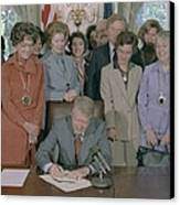 Jimmy Carter Signs A House Canvas Print by Everett