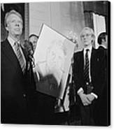 Jimmy Carter With Andy Warhol Canvas Print