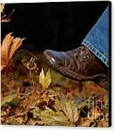 Kicking Fallen Autumn Leaves Canvas Print by Oleksiy Maksymenko