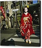 Kimono-clad Geisha Crosses A Street Canvas Print