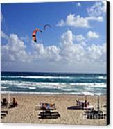 Kite Boarding In Boca Raton Florida Canvas Print