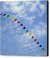 Kites Fly In A Rainbow Of Colors Canvas Print