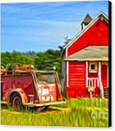Klamath Old Fire Truck And Red School House Canvas Print by Gregory Dyer