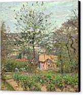 La Maison Rose Canvas Print by Camille Pissarro