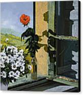 La Rosa Alla Finestra Canvas Print by Guido Borelli