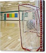 Lacrosse Goals In A Gymnasium Canvas Print by Marlene Ford