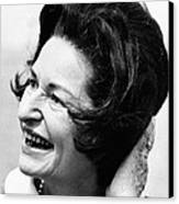 Lady Bird Johnson Smiles As The Wind Canvas Print by Everett