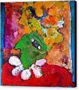 Lady Gaga Green Canvas Print by Laurens  Barnard
