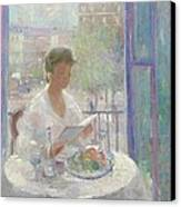 Lady Reading At An Open Window  Canvas Print