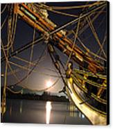 Lady Washington - Moonlight On Coos Bay Canvas Print